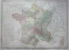 Original antique map, LARGE GEOLOGICAL MAP OF FRANCE, Malte-Brun, 1846