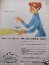 PUBLICITÉ 1956 UNE TASSE DE THÉ DEUX MORCEAUX DE SUCRE - ADVERTISING