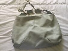 Juicy Couture Shoulder Handbag Logo Soft Silver Hardware Small/Medium Size Beige