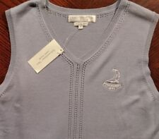 NWT Womens Izod Club Pinehurst GC logo Thin V-neck Sweater Vest Lt Blue SM