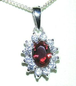 """Silver Ruby Pendant Diamond Cluster 925 Sterling Silver Oval 18"""" Chain Necklace"""
