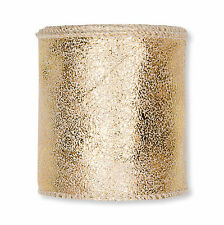 Leather Look Ribbon with Metallic Gold Print 60mm/2.25 inch x 3m/10ft Roll