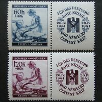 Germany Nazi 1941 Stamps MNH Red Cross Nurse & Patient Swastika Eagle B&M WWII T