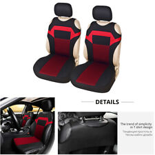 Black/Red Polyester Fabric 2 Front Car Seat Cover Protector Cushion Accessories
