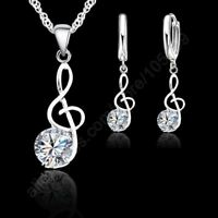 JEXXI Musical Notes Jewelry Sets Real 925 Sterling Silver Cubic Zirconia Symbols