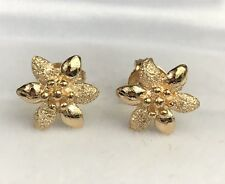 18k Solid Yellow Gold Stud Small Flower Earrings, Diamond Cut 2.15 Grams