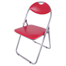 Paris Fold-Up Chair Red Silver Steel Faux Leather Office Kitchen Study Seat