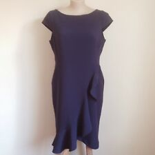 PERUNA New with Tags Navy fitted Dress Flounce Straight tailored lined Brand New
