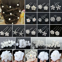 20/40PCS Lot Wedding Bridal Hairstyle Crystal Pearl Flower Hair Bobby Pins Clips
