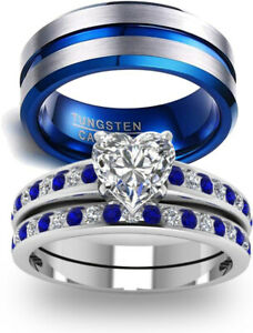 Couple Ring Band His Hers Women Silver Filled Men's Stainless Steel Wedding Ring