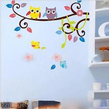 DIY Cartoon Nursery Tree Leaf Owl Wall Stickers Home Decoration Art Wall Paper