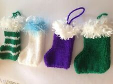 4 Knitted Mini Christmas Stockings  Mixed Colour With Loop
