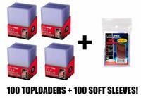 100 x Ultra Pro 35pt TopLoader +100 Card Sleeves Penny TopLoaders Top Loader
