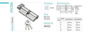 High Security Euro Cylinder Lock Satin Brass (Hard To Duplicate Key In AUS)