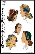 Simplicity #4924 Unique Heart Hat Cap Band Fabric Sewing Pattern Women's Vintage