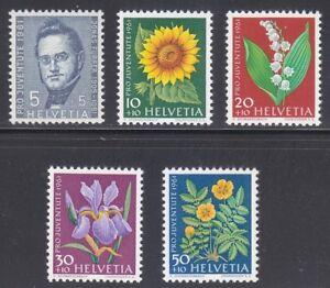 Switzerland 1961 MNH Mi 742-746 Sc B308-B312 Flowers.Jonas Furrer,politician **