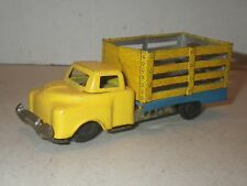 Vintage HAJI Friction Tin Litho Yellow Blue Farm Stake Truck Made Japan - WORKS!