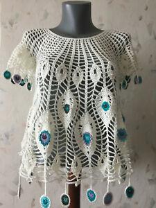Peacock crochet top