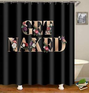 Black Rose Gold Floral Glam Elegant Get Naked Funny Boho Fabric Shower Curtain