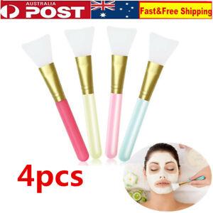 4X Facial Mud Mask Flat Brush Silicone Makeup Face Care Cosmetic Applicator AU