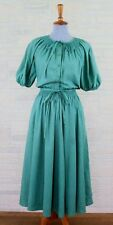 Vtg 50s Evelyn Byrnes New York Cotton Shirtwaist Day Dress Green Sz 6 Pockets