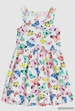 NEW GIRLS H&M SUMMER DRESS AGE 6-8, Pretty White Neon Butterfly print, Cotton