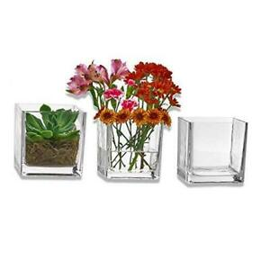Set of 3 Glass Square Vases 5 x 5 Inch – Clear Cube Shape Flower Vase, Candle