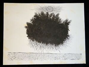 1964 Hawaii Modernist Abstract Landscape Ink Drawing by Harry Tsuchidana (AHB)
