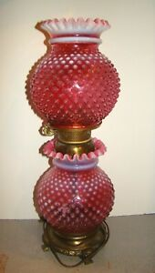 Vintage Fenton Hobnail Cranberry Opalescent Gone With The Wind GWTW Lamp