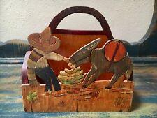 Vintage MEXICAN NAPKIN HOLDER Folk Art, Man w/Donkey, Cactus, Handcrafted Wood