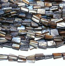 """MP1550L Soft Black Large 15mm Tri-Tip Nugget Mother of Pearl Shell Beads 16"""""""