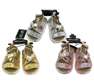 New Baby Girls Gladiator Sandals SZ 3-6 MO, 6-9 MO, 9-12 MO Silver Gold Lavender