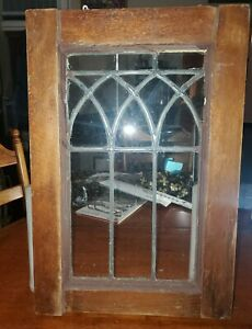 Vintg 1920's clear leaded glass Salvaged And Restored 12.5 x 19 ready to hang