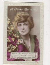 Gladys Cooper Actress 1917 RP Birthday Greetings Postcard 532a