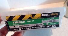 Buildex 14-10 x 75mm Zinc Alloy Bugle Head Batten Timber Screws - 100 Box (5745)