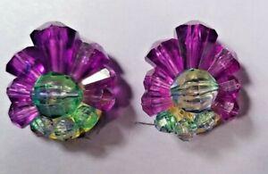 VINTAGE Germany CRYSTAL CLUSTER Clip EARRINGS PURPLE / AQUA Plastic MID CENTURY