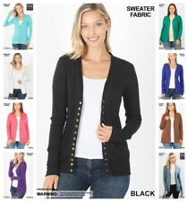 Women's Soft Snap Button Front V-Neck Long Sleeve Knit Cardigan Sweater S-3X