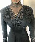 ANTIQUE VICTORIAN EDWARDIAN BLACK WOOL DRESS W/ EMBROIDERY & METALLIC MESH