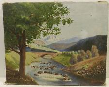 """""""Landschaftsansicht mit Brücke über den Fluß """"Öl/Lwd.sign./dat.M.Rothweiler 1945"""