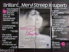 PLENTY ORIGINAL 1985 QUAD POSTER MERYL STREEP CHARLES DANCE SAM NEILL