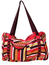 SAC tissage en COTON - double poche - Rouge - Inde ethnique