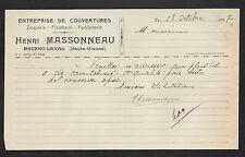 """MAGNAC-LAVAL (87) COUVERTURE ZINGUERIE FERBLANTERIE """"Henri MASSONNEAU"""" en 1937"""