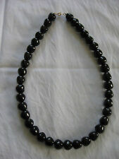 "Trifari Black Bead Necklace 22"" Long / Strand / String"
