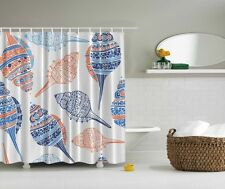 Seshells Digital Print Shower Curtain Shells Blue Conch Nautical Bath Decor