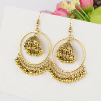 Women Bohemia Boho Gold Silver Big Round Bells Tassel Beads Drop Ethnic Earrings