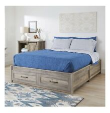 Better Homes & Gardens Modern Farmhouse Queen Platform Bed With Storage Rustic