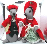 Mon Petit Chou Vintage Pair of Christmas Mice Mouse Large MCM Santa Mrs Claus