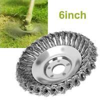 "Rotary Steel Wire Brush Crimp Bevel Wheel Twist Angle Grinder Mower Head6"" Solid"