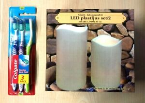 LED Block Candle in/out - Set of 2 - battery-operated,Free 3Colgate toothbrush p