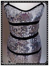 ✨COTTON CLUB Silver Sequin Pencil Stretch Bodycon Dress UK 8 EU 36 FAST📮